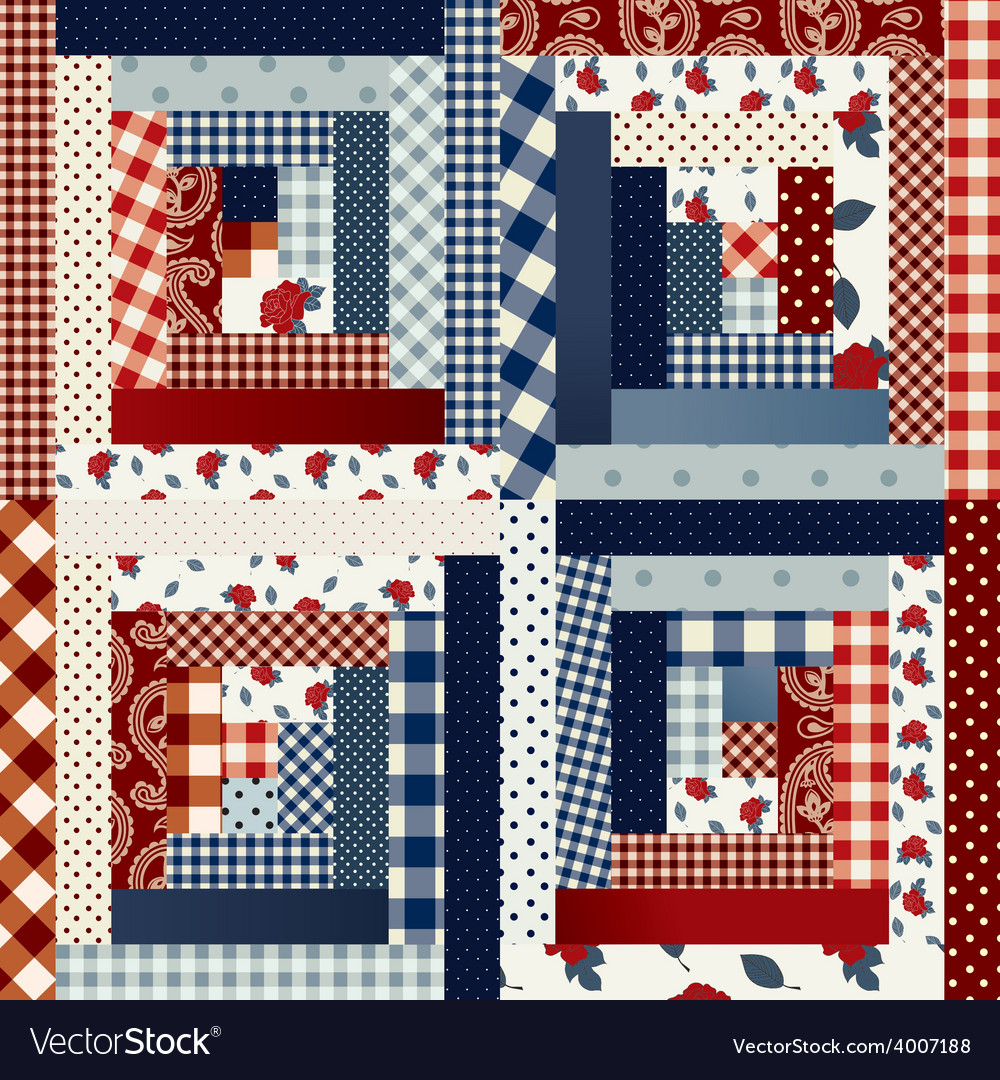 Square patchwork in country style vector