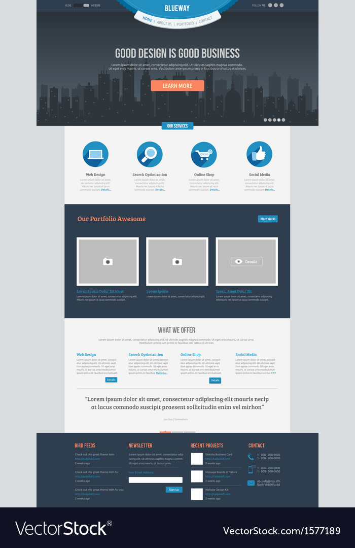 Flat website template vector