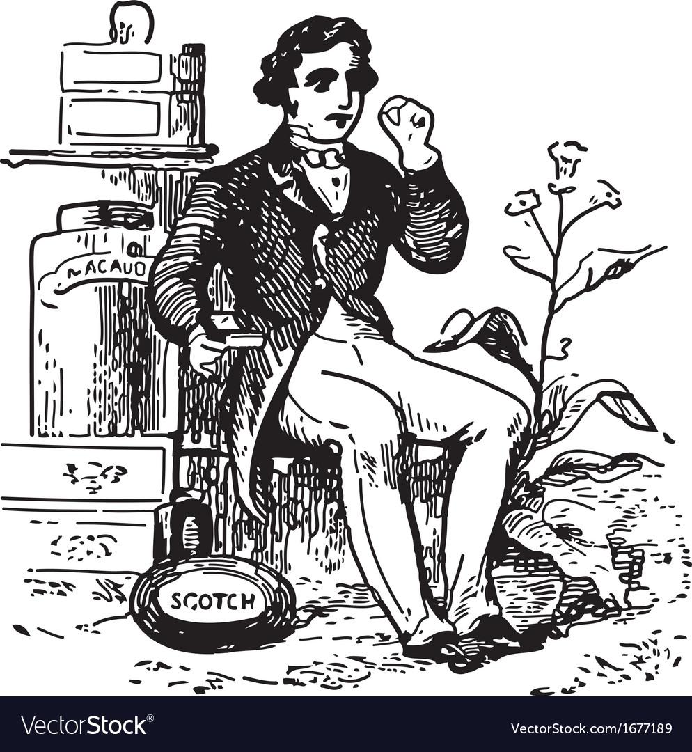 Man at tobacco shop vector