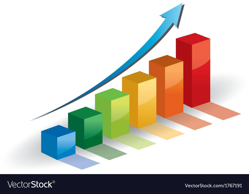Business graph growth progress blue arrow vector