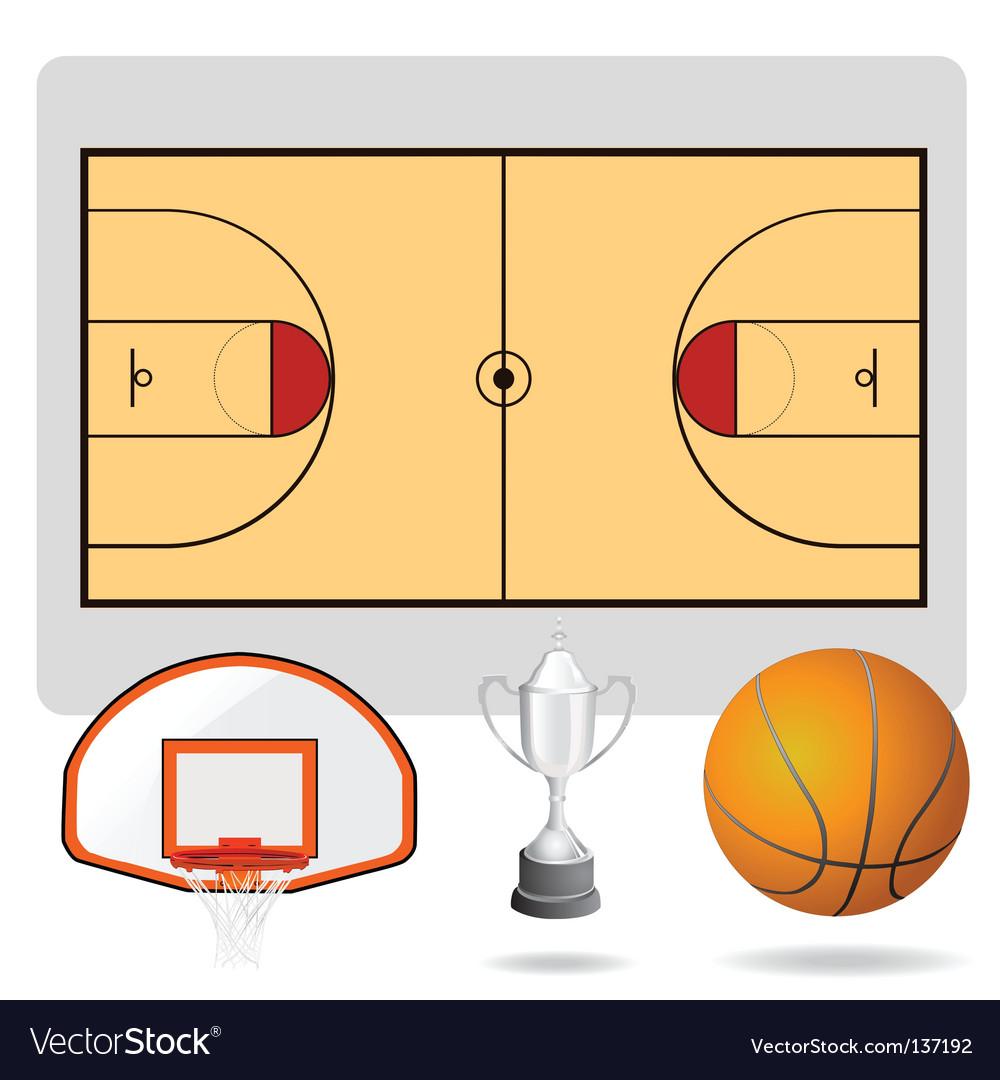 Basketball field ball vector