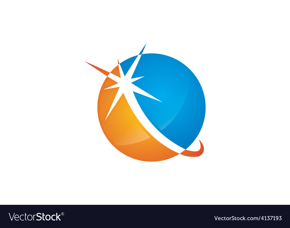 Round shine globe sphere business logo vector