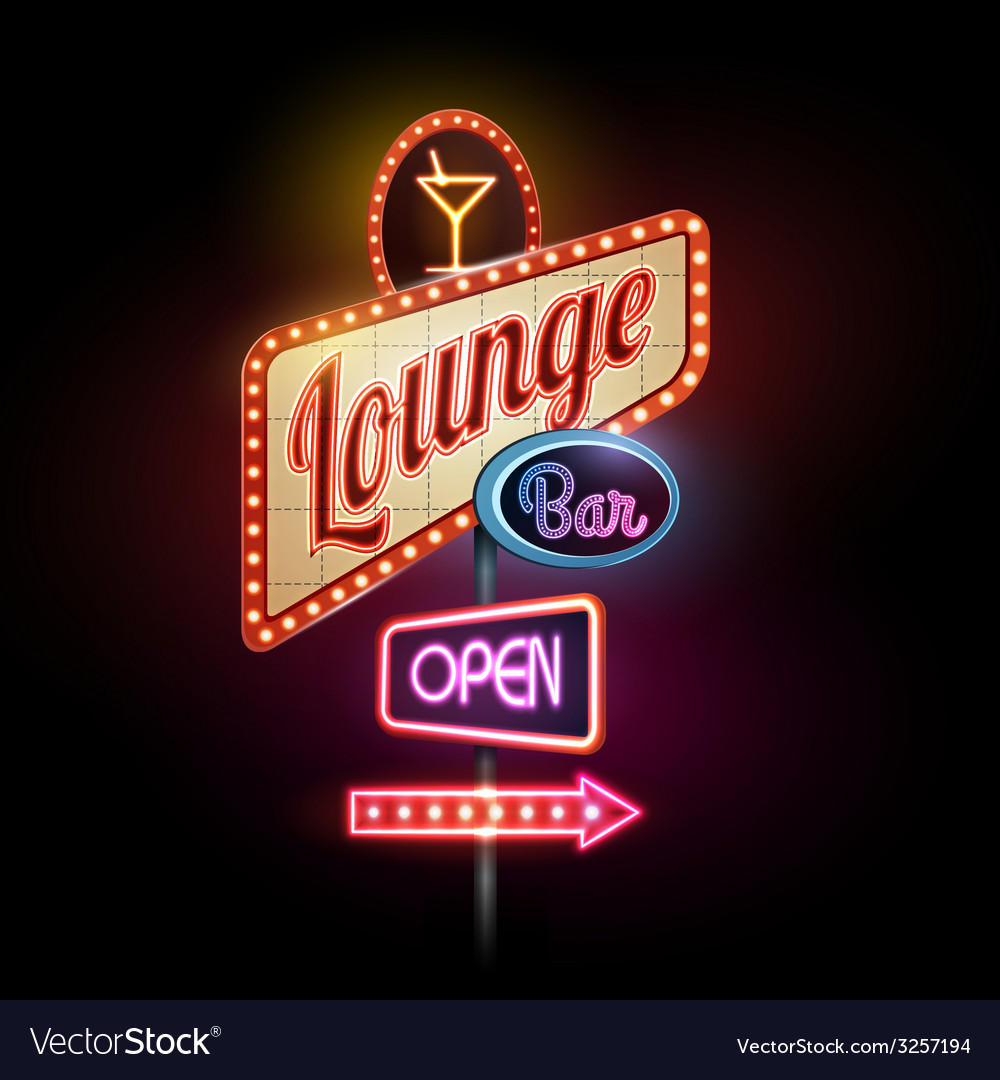 Neon sign lounge bar vector