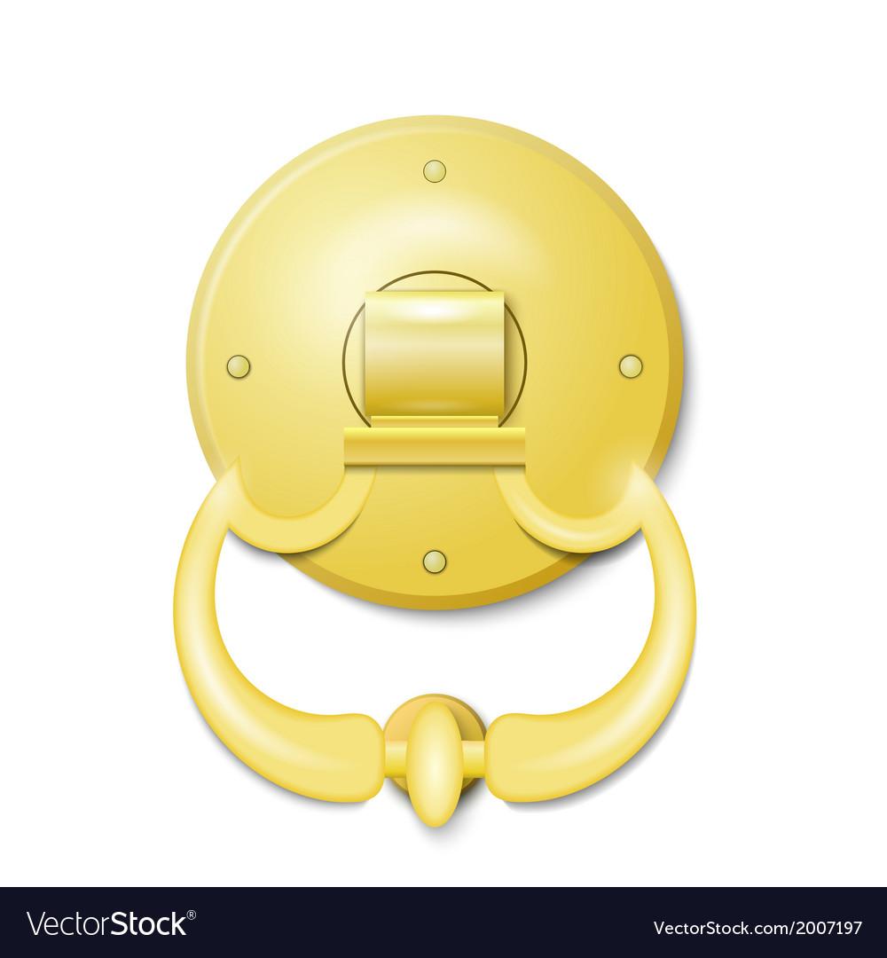 Golden door knocker vector