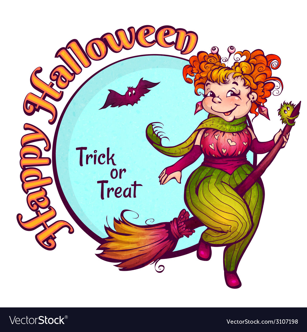 Invitation to halloween party with fun witch on a vector
