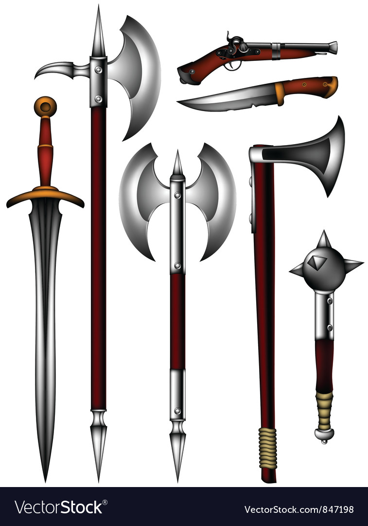 Set of ancient weapon vector