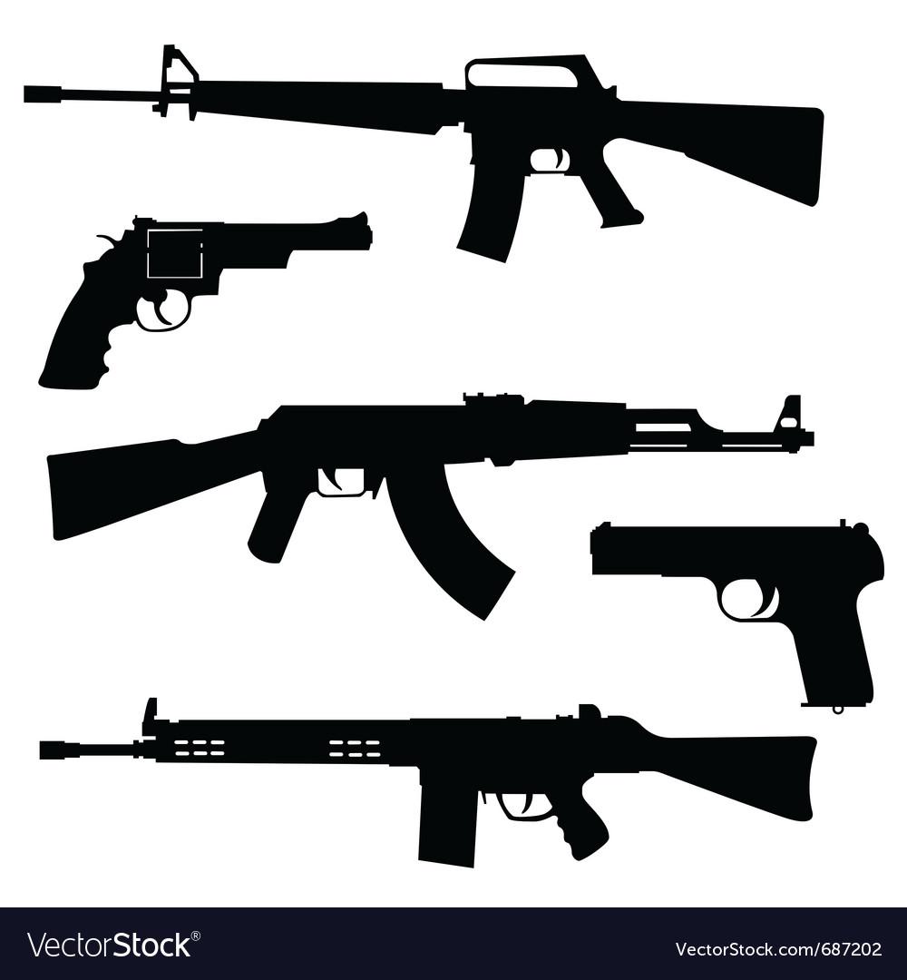 Pistols and submachine guns vector