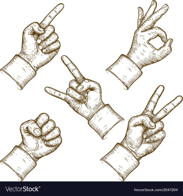 Engraving five hands vector