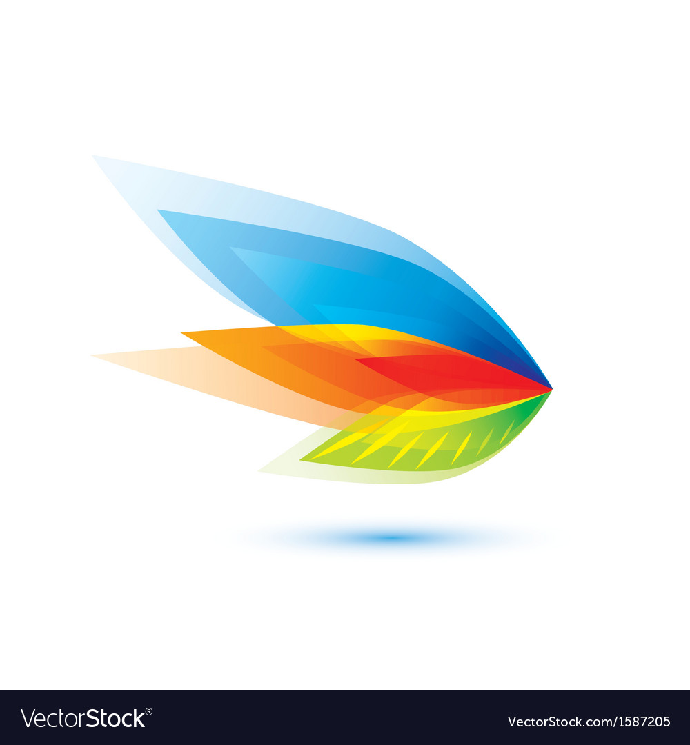Abstract feather leaf symbol vector