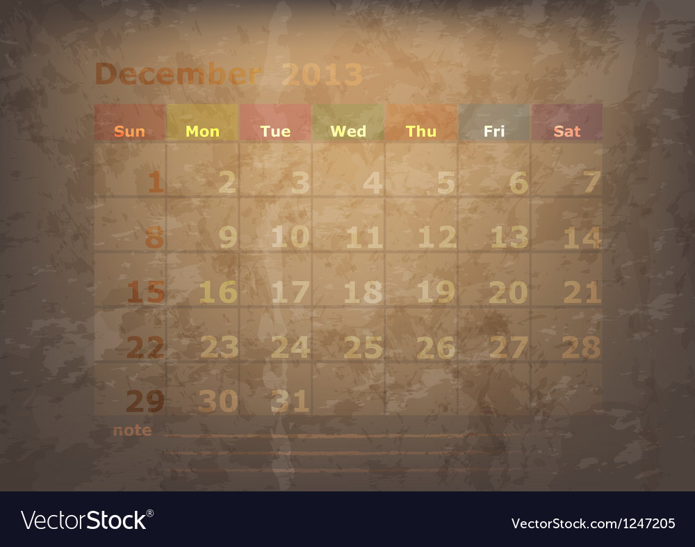 Antique calendar of december vector