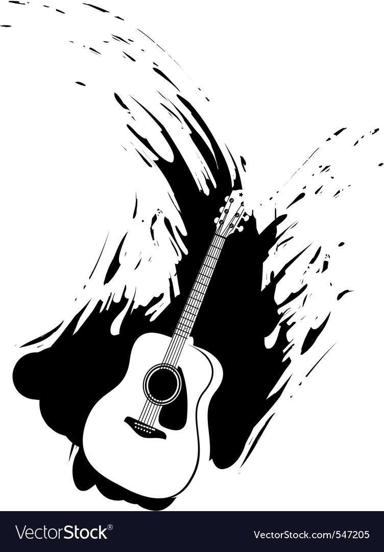 Grunge guitar paint splash vector