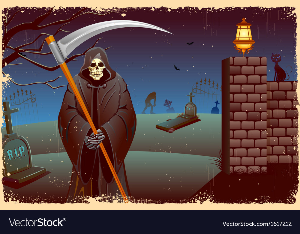 Grim in halloween night vector