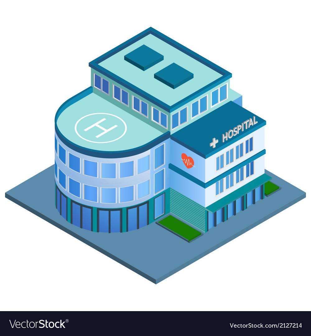 Hospital building isometric vector