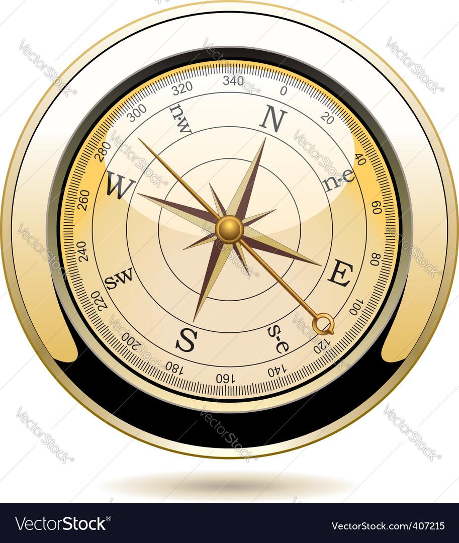 Golden vintage compass vector