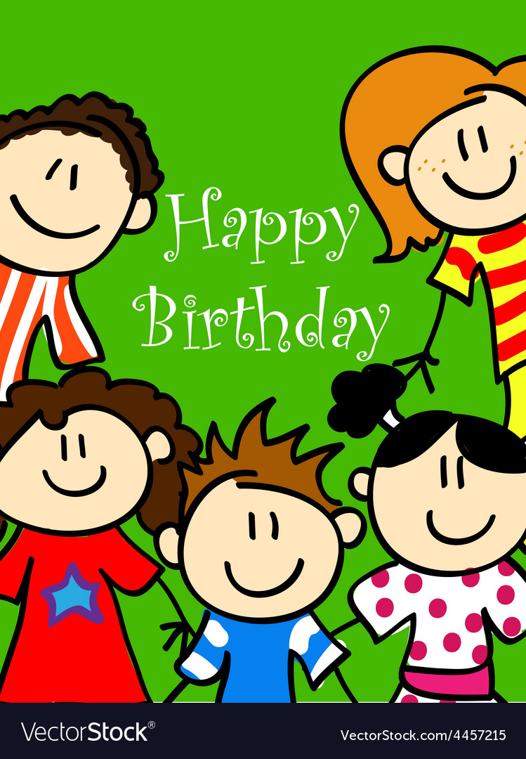 Kids birthday card 2 vector