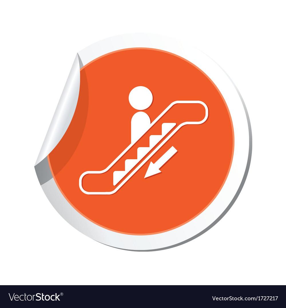Escalator down sign orange sticker vector
