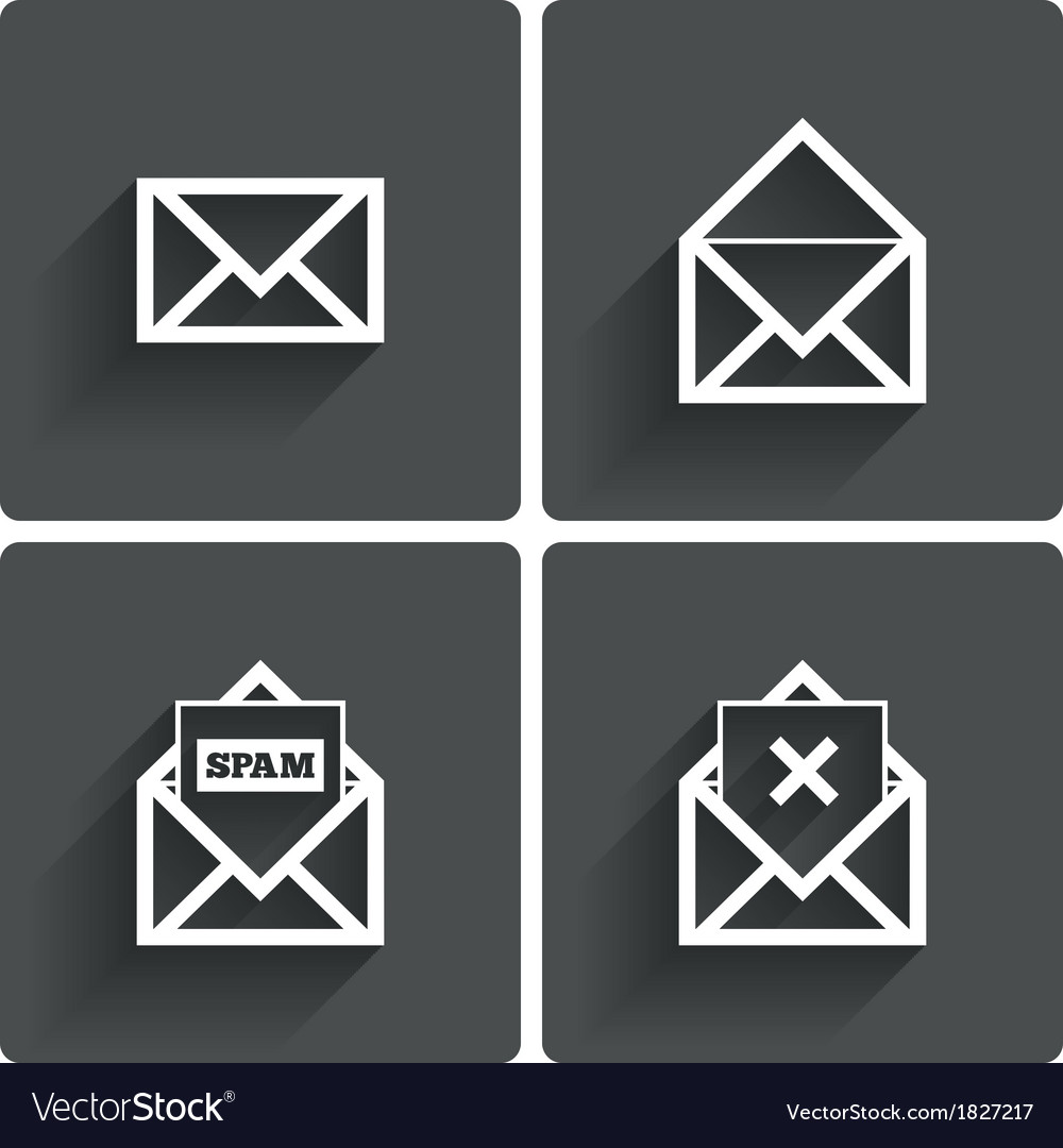 Mail icons mail spam symbol delete letter vector
