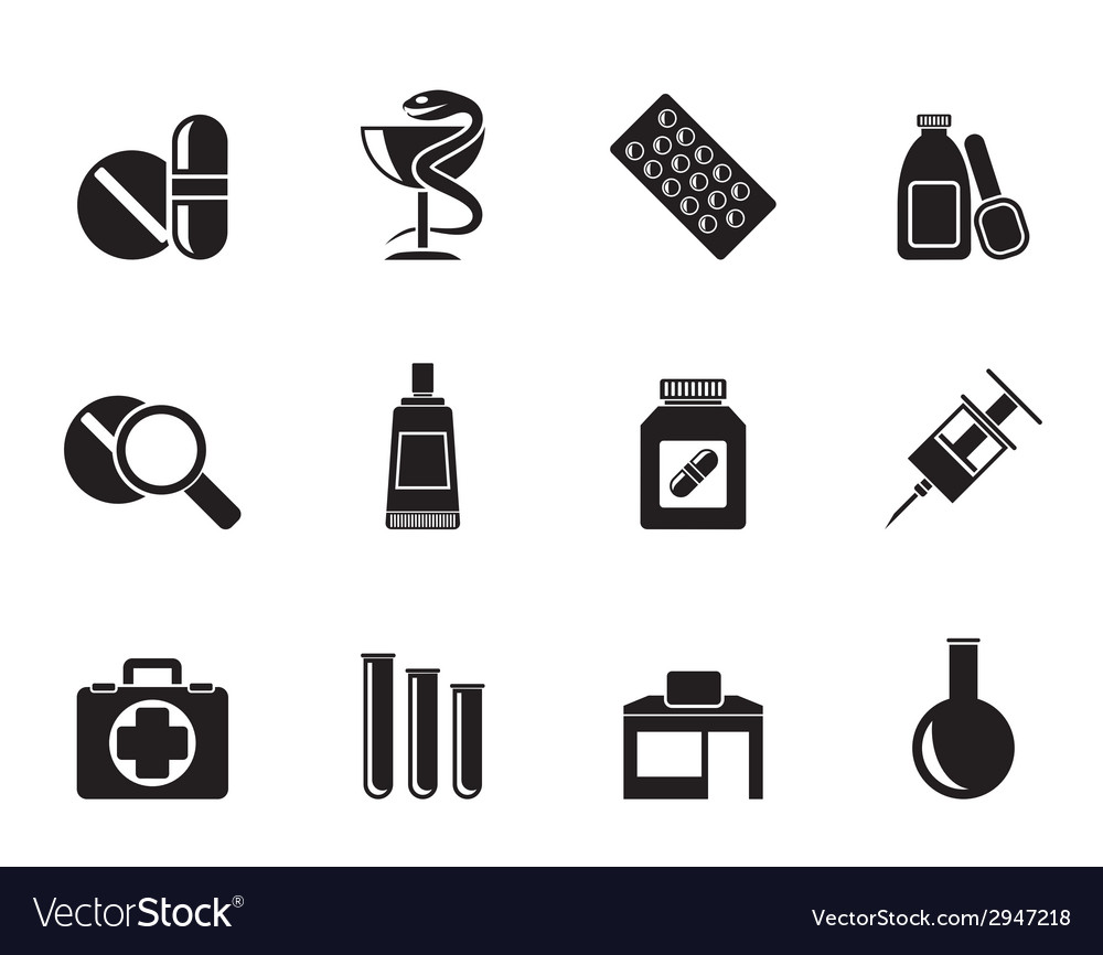 Silhouette pharmacy and medical icons vector