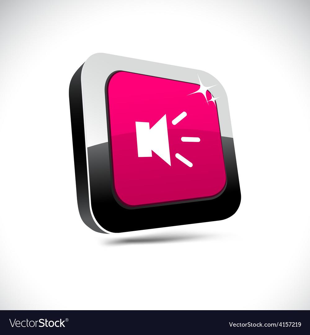 Sound 3d square button vector