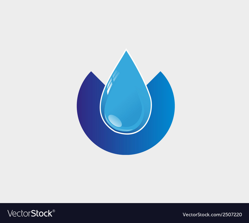 Blue water drop icon abstract logo template vector
