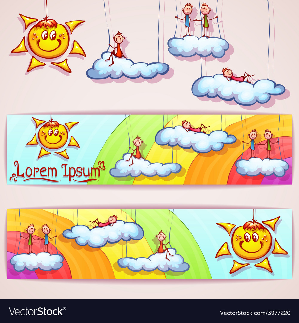 Rainbow banner with smiley sun clouds and vector