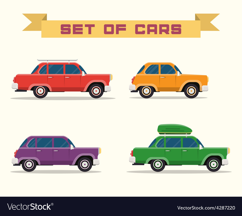 Set with vintage cars flat style vector