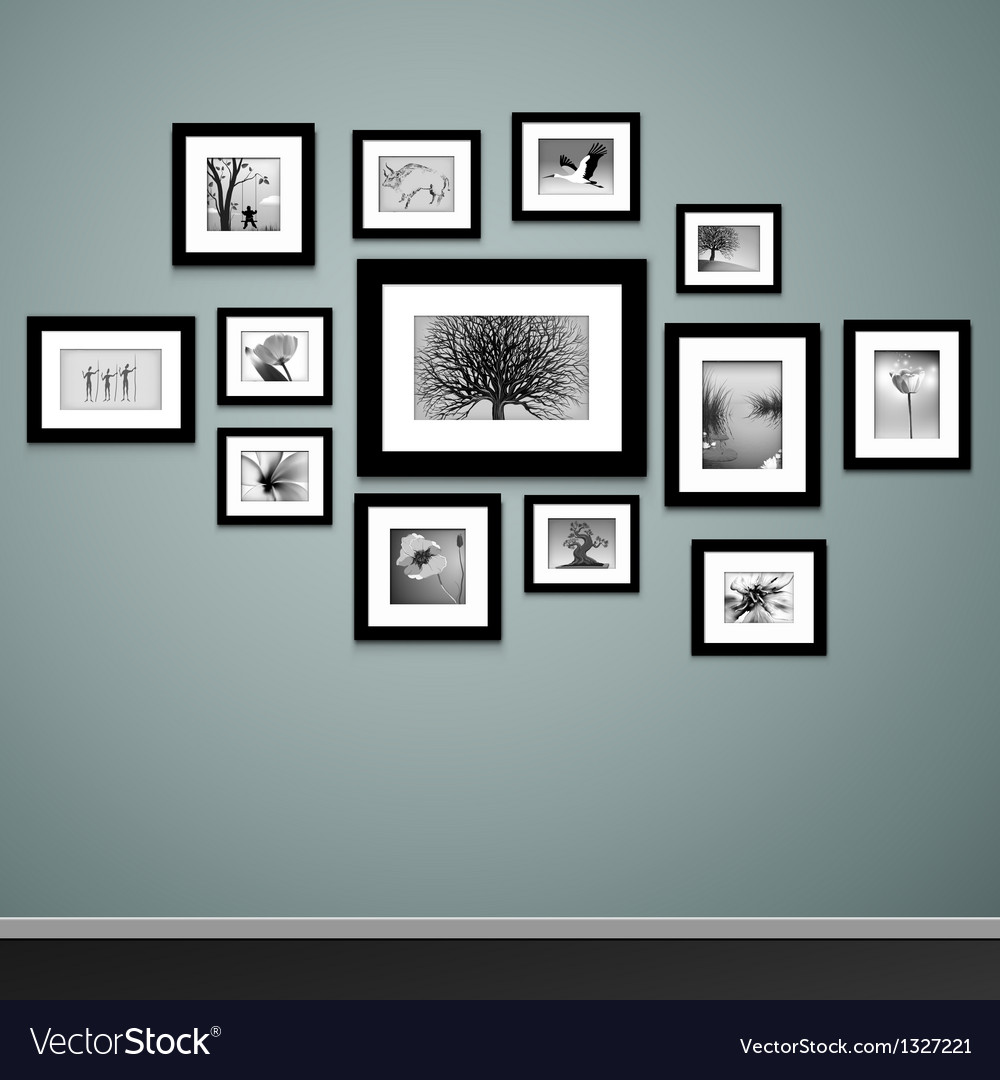 Photo frames on wall vector