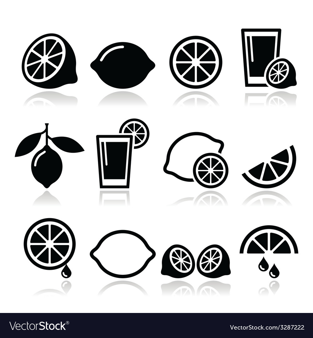 Lemon lime icons set vector