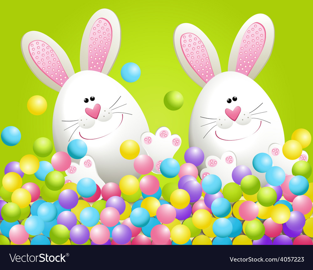 Easter rabbits in candies vector