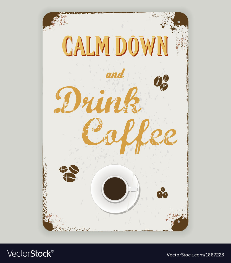 Tin sign coffee background vector