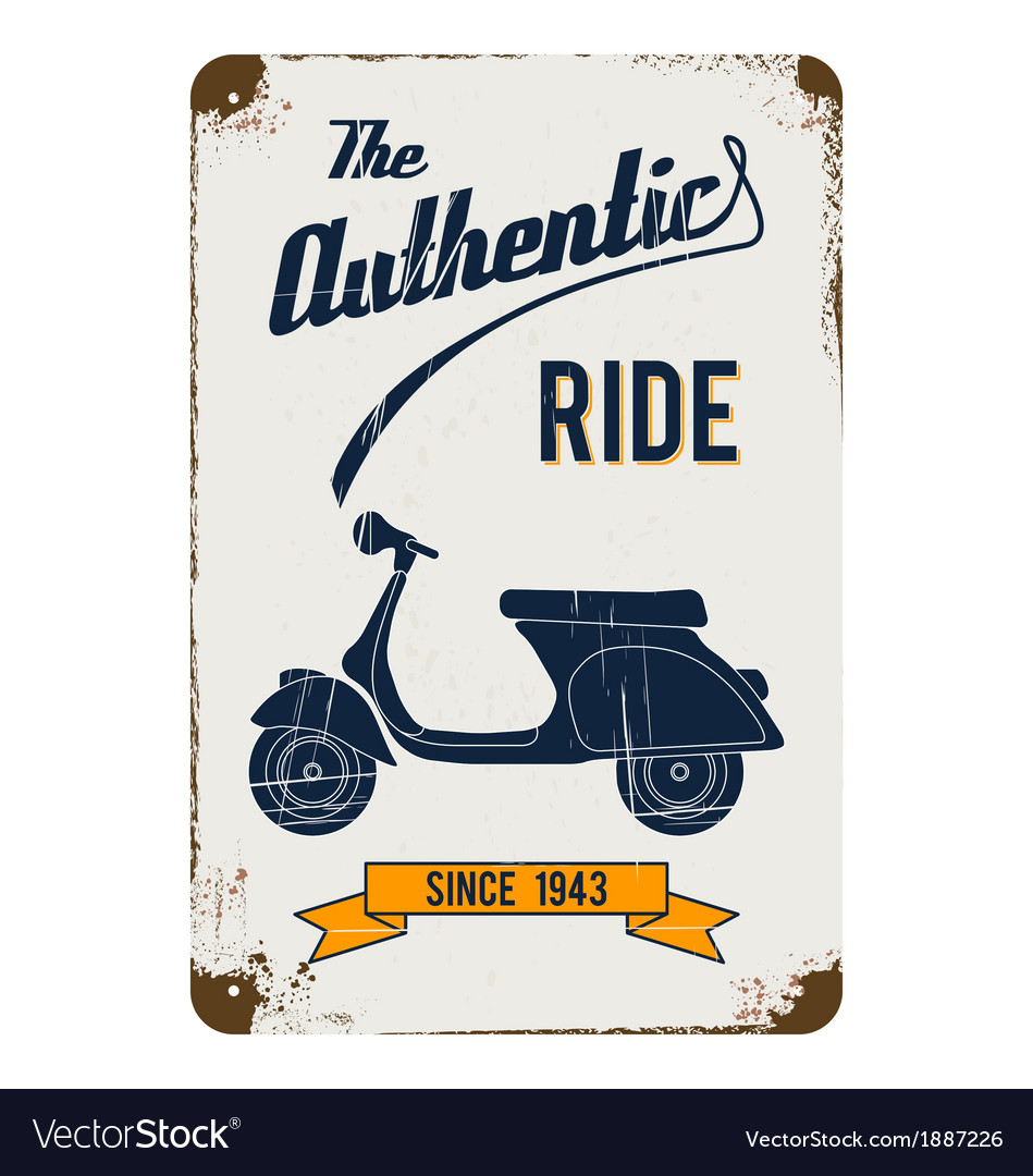 Tin sign vintage scooter vector