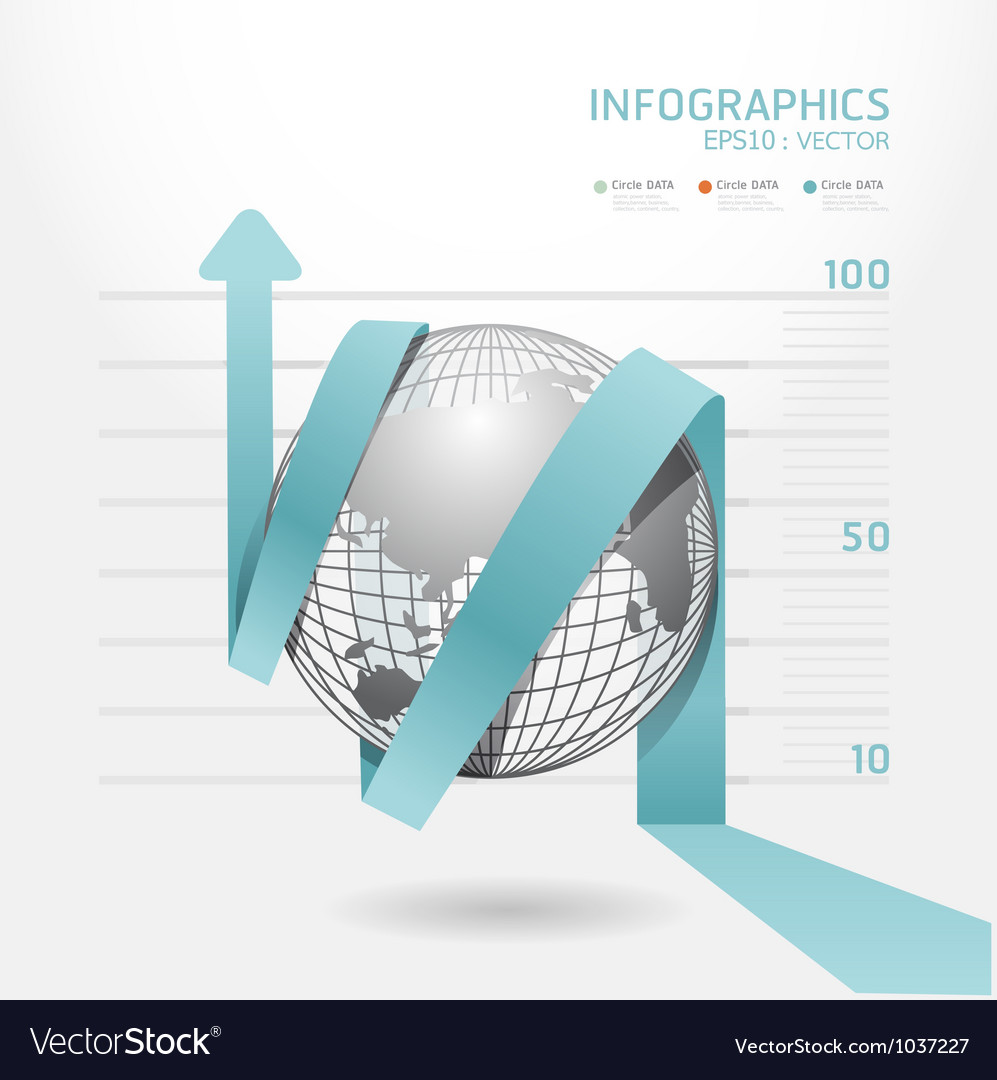 Infographic blue arrow diagram chart vector