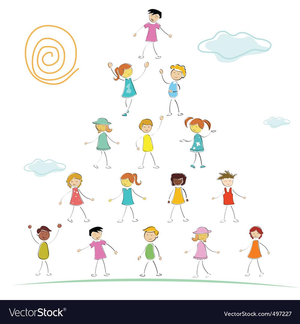 Kid forming pyramid vector