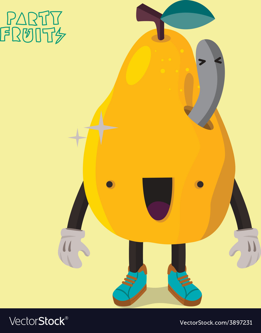 Yellow pear character isolated vector