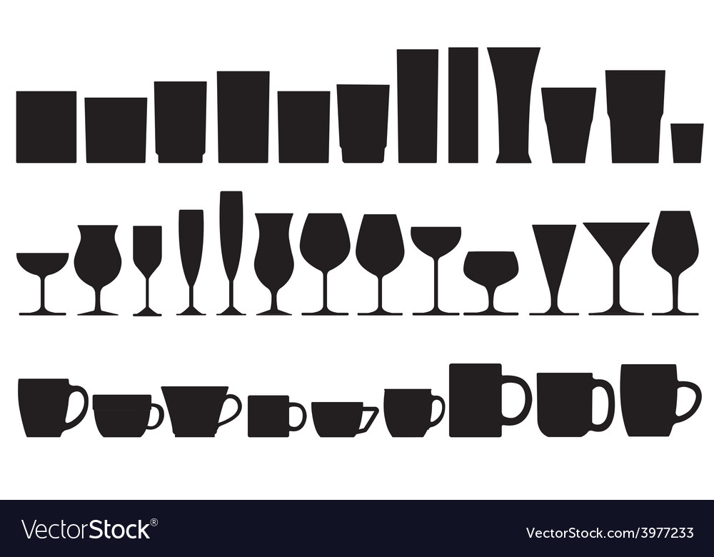 Glass and cup vector