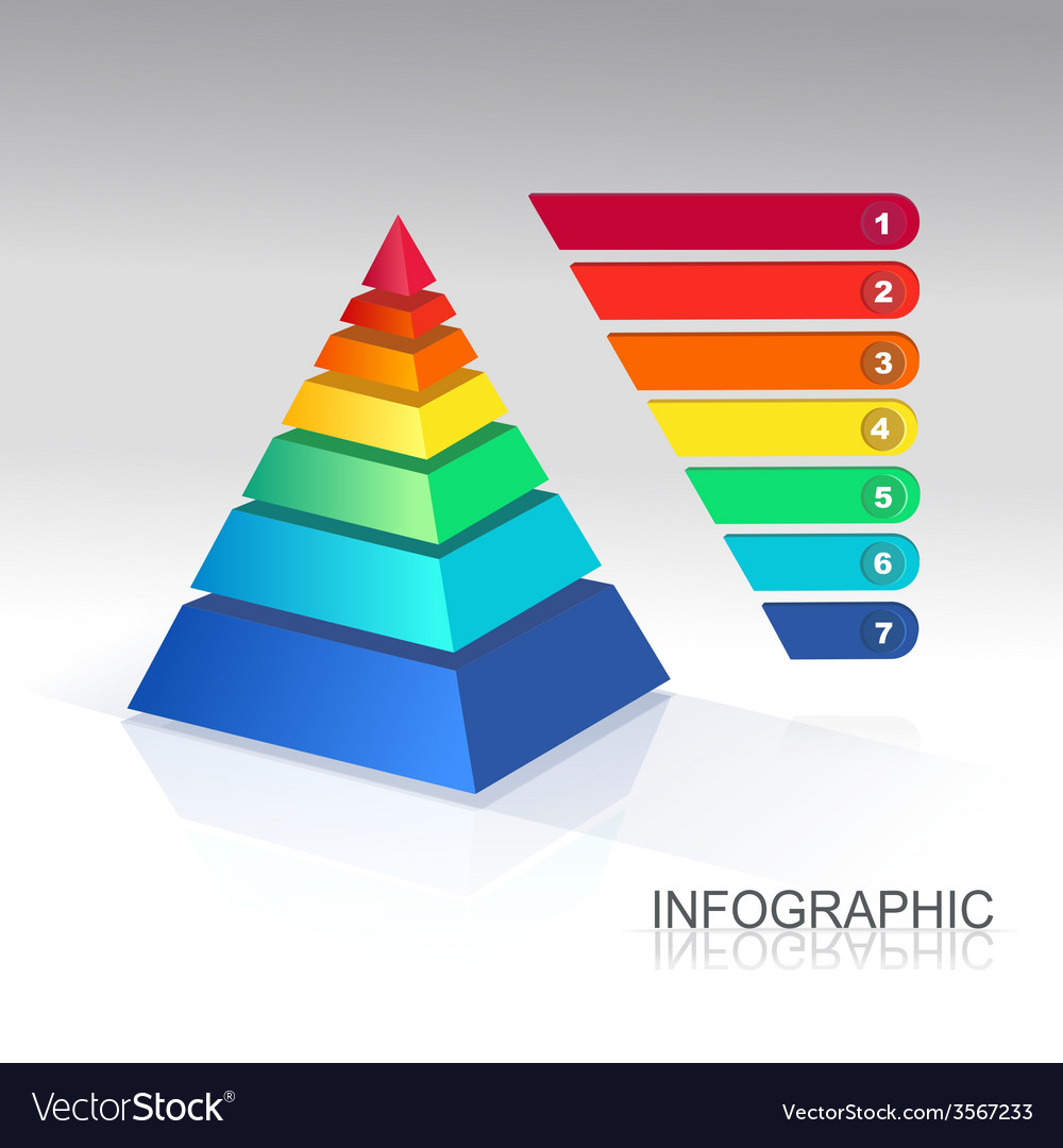 Pyramid infographic colorful vector