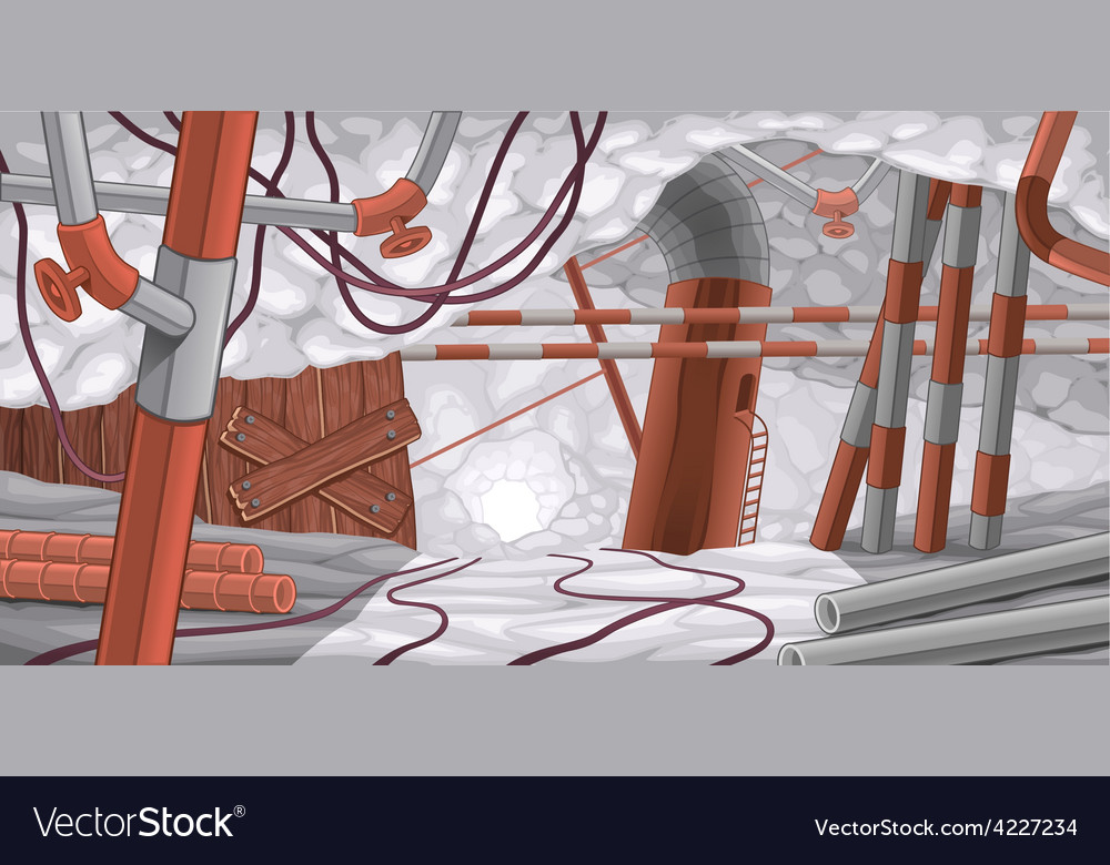 Scene with pipes and cables underground vector