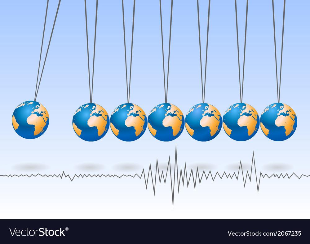 Balancing earth ball earthquake activity vector