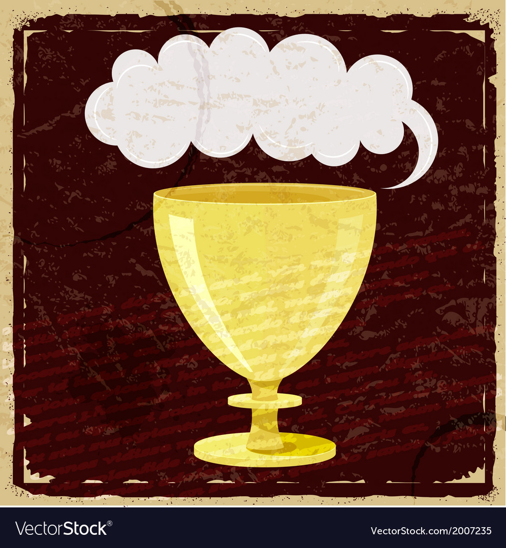Cartoon cup on vintage paper background vector