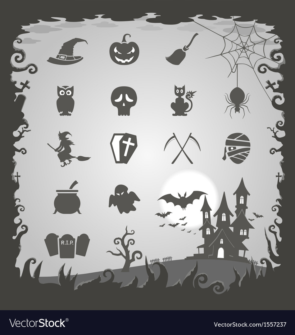 Halloween icons with halloween background vector