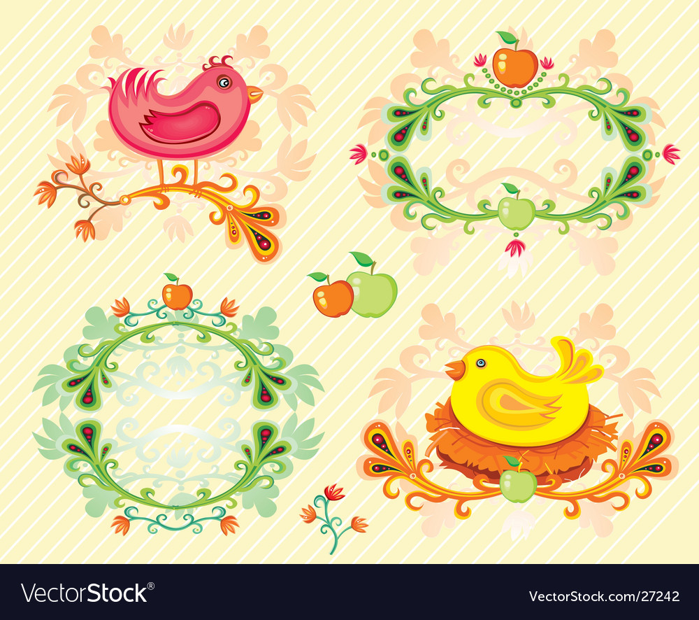Autumn birds set vector