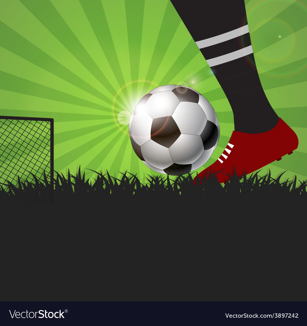 Soccer or football player with ball on field vector