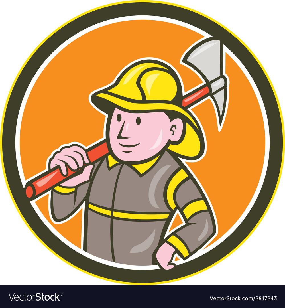 Fireman firefighter axe circle cartoon vector
