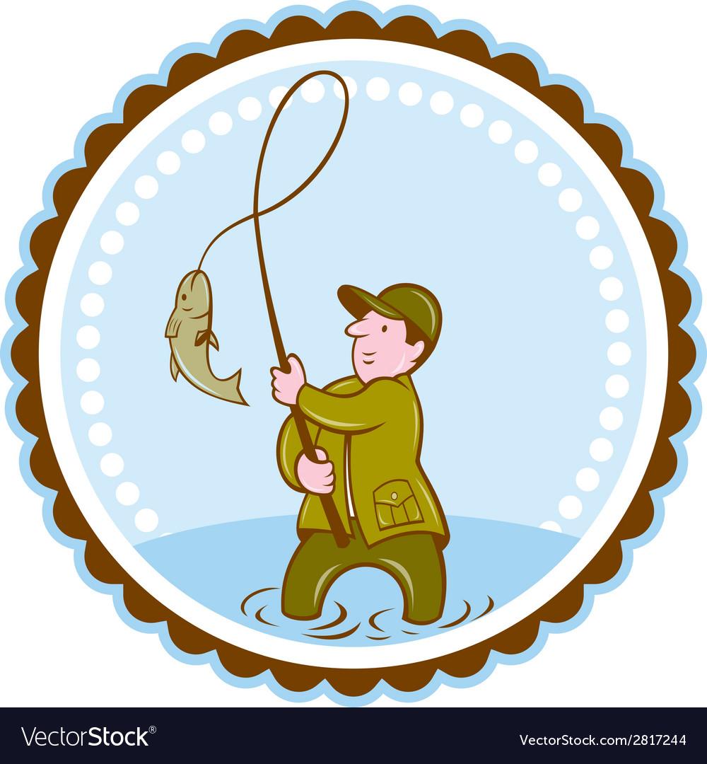 Fly fisherman fish on reel rosette cartoon vector