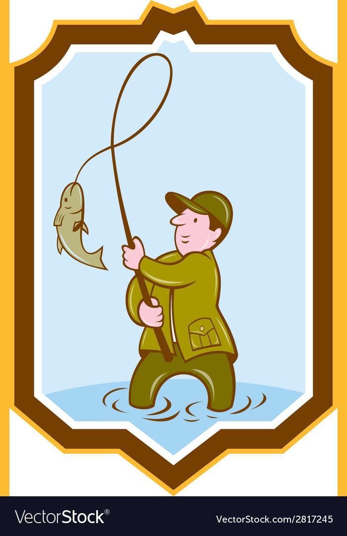 Fly fisherman fish on reel shield cartoon vector