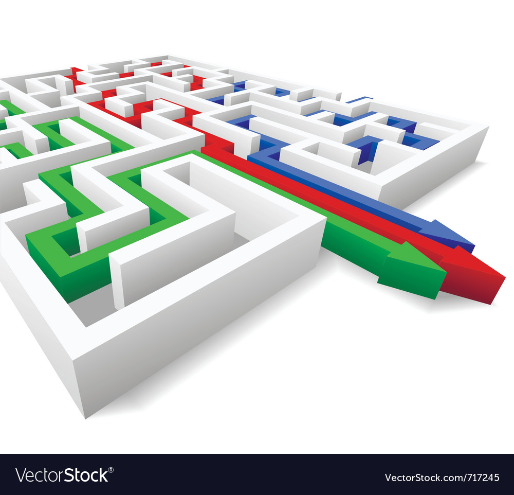 Maze and colored arrows vector