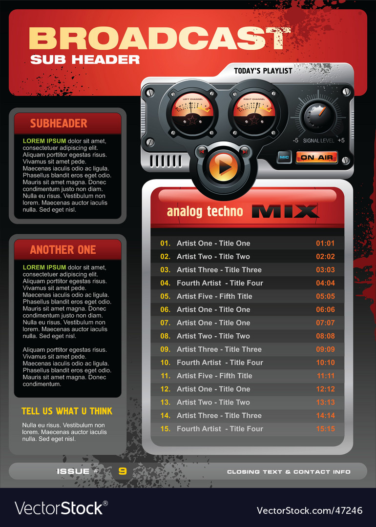 Analog radio brochure vector