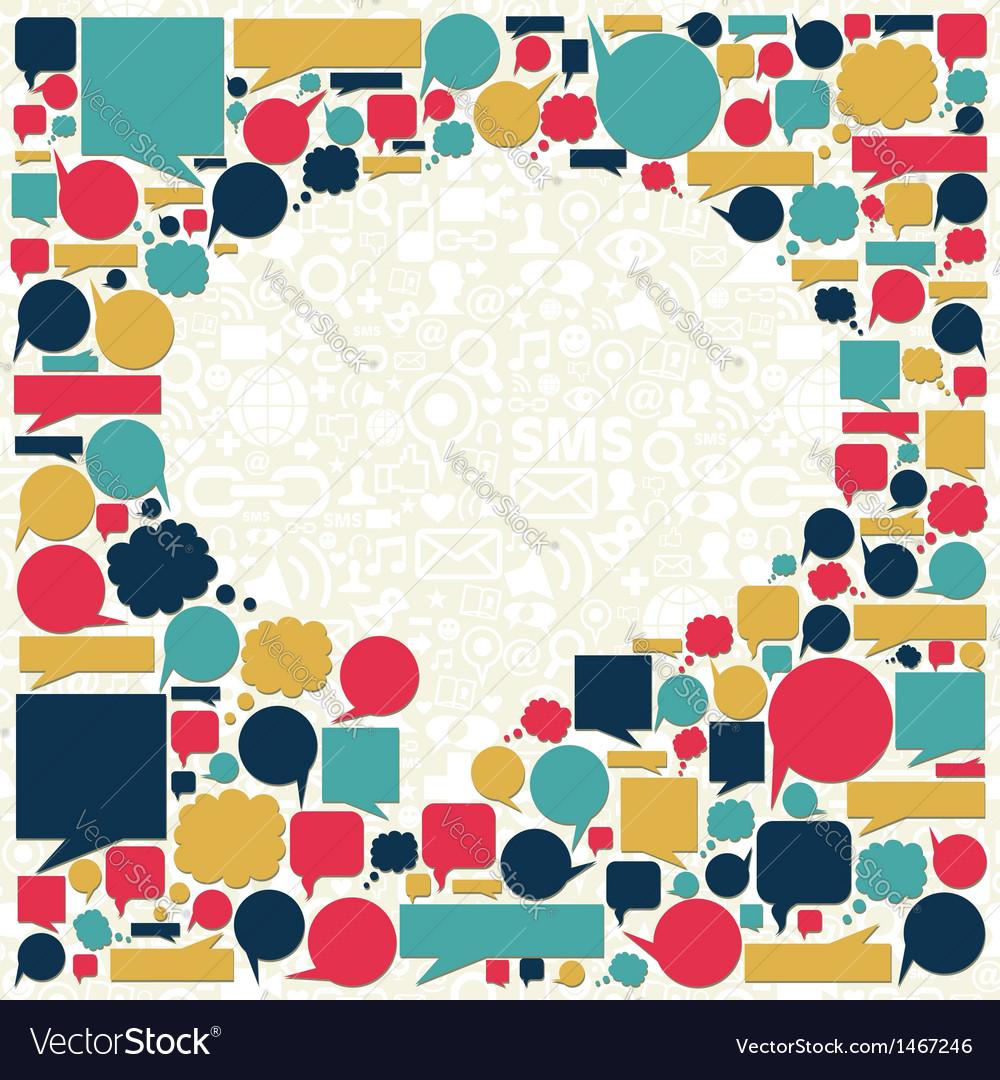 Social media talk bubble texture vector