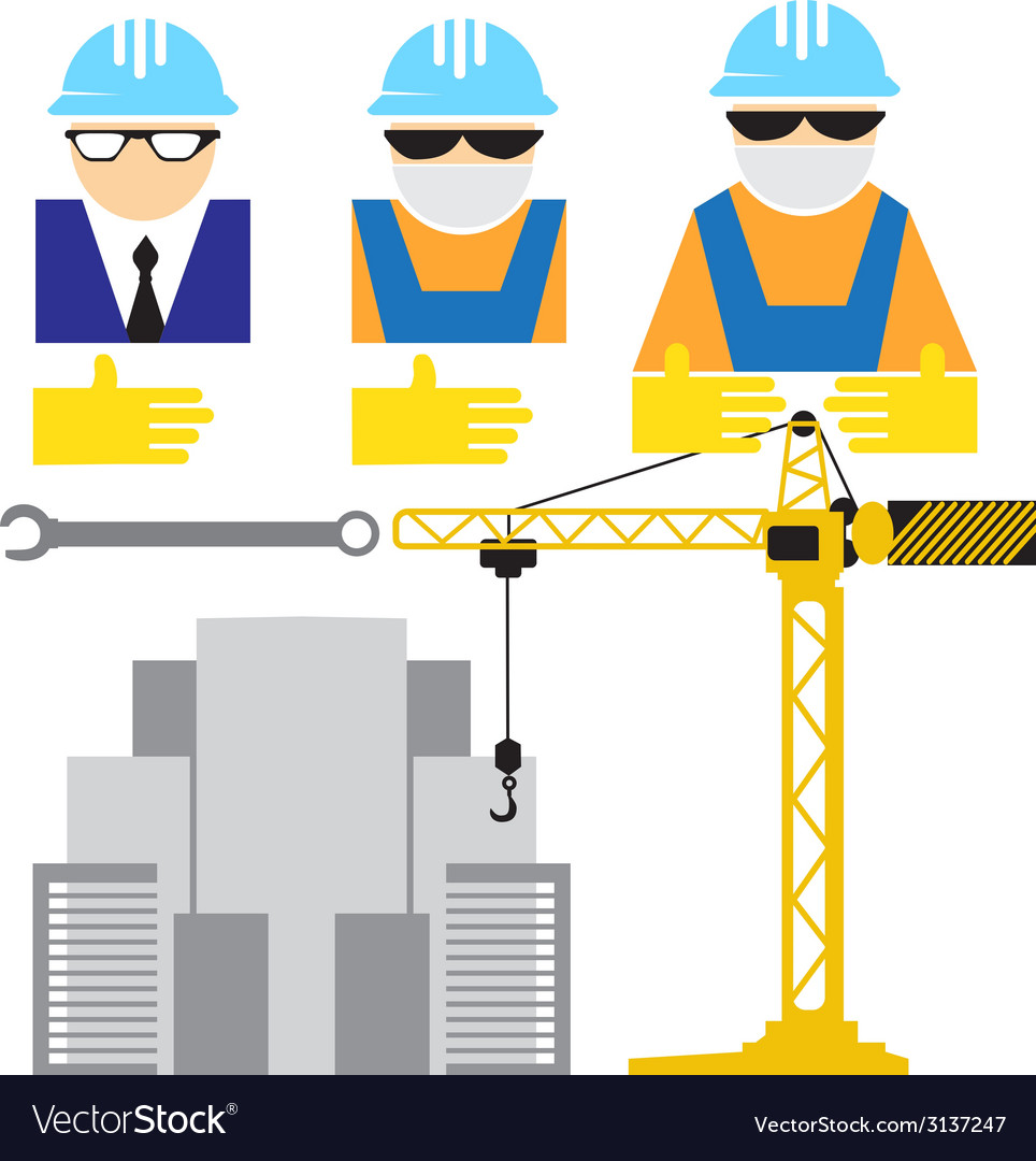 Engineer and workers building scene vector