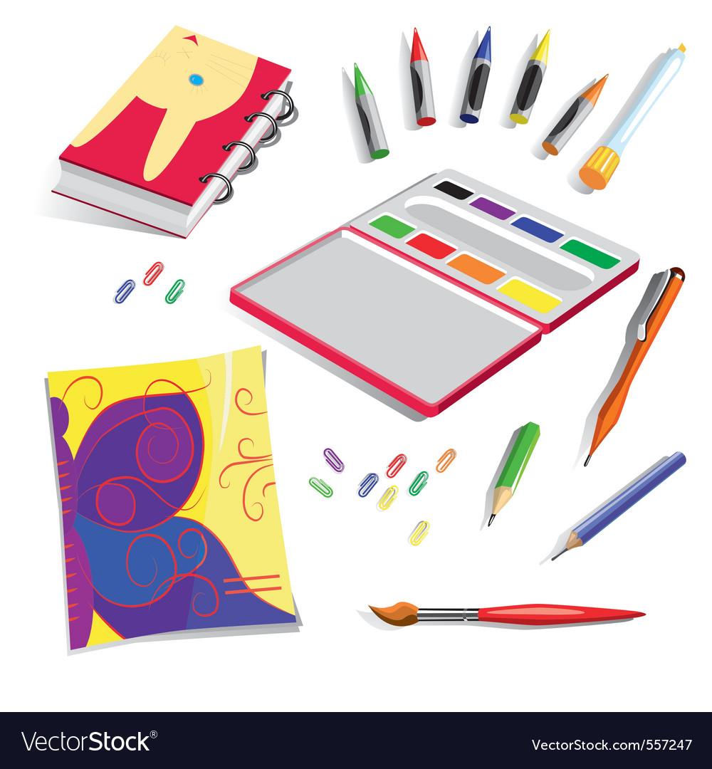 School exercise book colours vector
